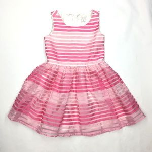 Children's Place Girl's Pink Striped Party Dress 4